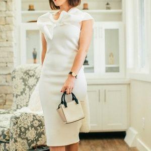 Dresses & Skirts - White Bow One Shoulder Midi Dress